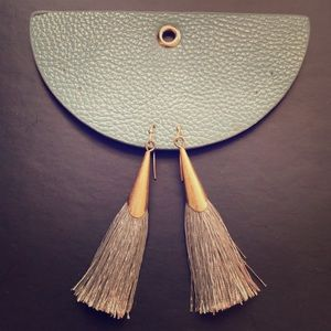 Anthropologie grey tassel earrings
